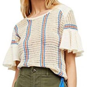 Free People Babes Only Ivory Striped Knit Top